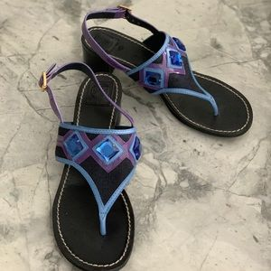 Tory Burch wedge sandal with blue stones